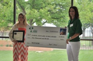 Heidi Strong accepting scholarship from Crystal Fouquet